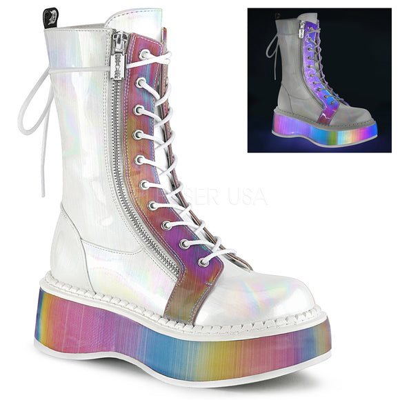 White Brushed Hologram Vegan Leather-Rainbow Reflective