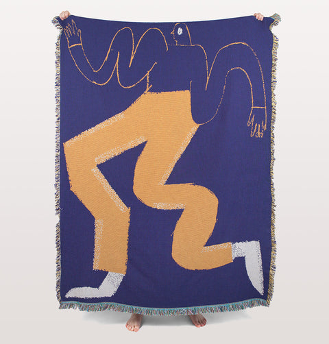 Blue and orange Bradford Throw by Slowdown Studio. Designer art blanket for wall or sofa. Limited edition blanket