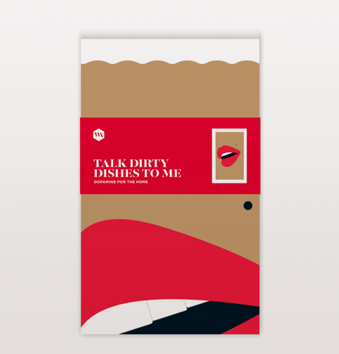Talk dirty to me mouth tea towel with red lips by W.A.Green