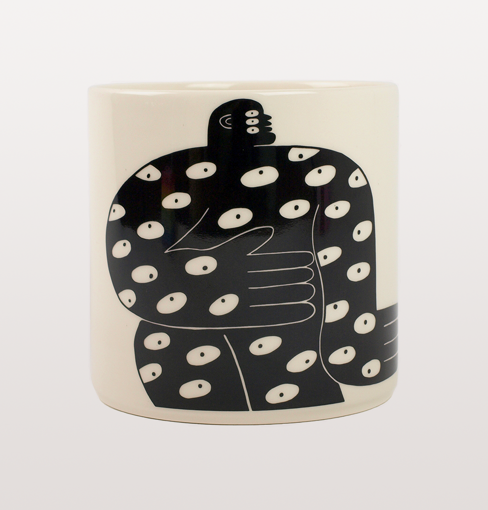 ALL EYES LARGE ILLUSTRATED BLACK AND WHITE PLANTER BY LOUISE MADZIA