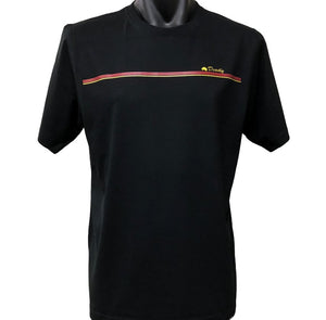 Aboriginal Deadly Stripe T-Shirt (Black) - Adult Sizes (Generous Fit)