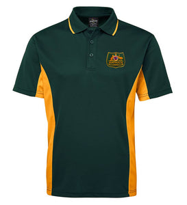 Australian Shield Sports Polo (Green with Gold Sides)
