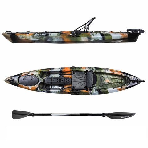 12 Foot Single Person Sit On Top Fishing Kayak with SmartTracker Rudder and Aluminum Framed Seat