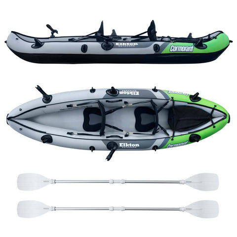 Cormorant Inflatable 2 Person Fishing Kayak Set with 6 Rod Holders, Paddles, Double Action Pump
