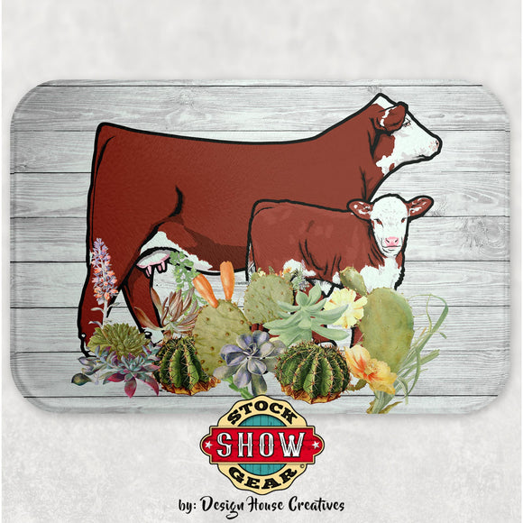 Hereford Cow Calf Glass Cutting Board