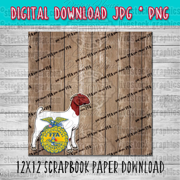 FFA Boer Doe Goat Scrapbook Paper 12x12 Digital Download