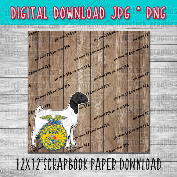 FFA Boer Wether Goat Scrapbook Paper 12x12 Digital Download