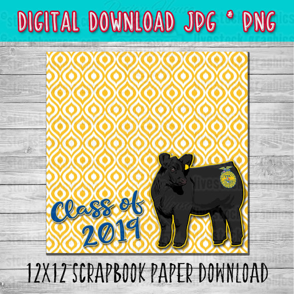 FFA Black Angus Heifer Scrapbook Paper 12x12 Digital Download