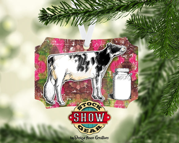 Dairy Cow Christmas Ornament Personalized Show Cattle Holstein Jersey Brown Swiss