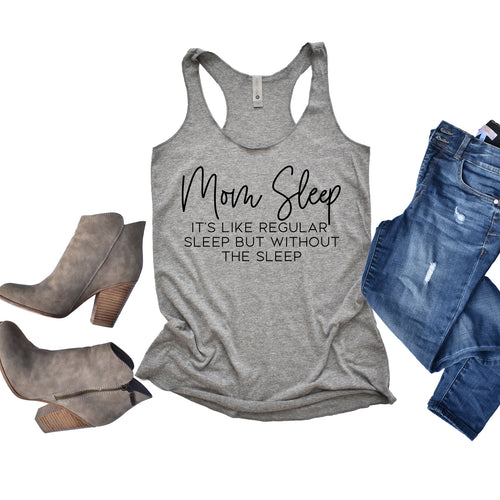 Mom Sleep Gray Triblend Racerback Tank  |  Black Ink