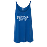 Prickly Before Coffee Blue Slouchy Tank  |  White Ink