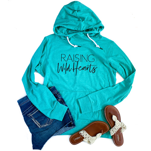 Raising Wild Hearts Seaglass Cowl Neck Lightweight Hoodie  |  Black Ink