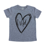 Wild at heart gray kids tee