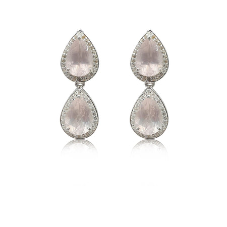 Style Your Own: Pear-Shaped Rose Quartz Earrings in Sterling Silver