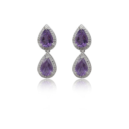 Style Your Own: Pear-Shaped Amethyst Earrings in Sterling Silver