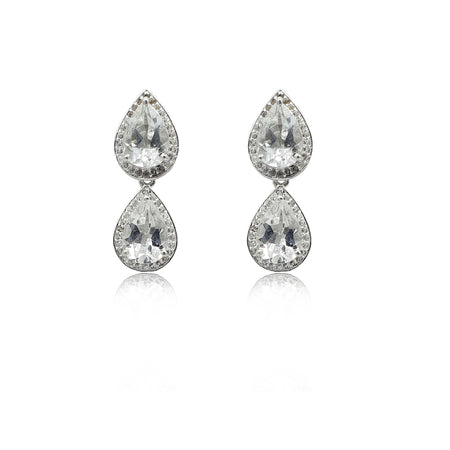Style Your Own: Pear-Shaped White Topaz Earrings in Sterling Silver