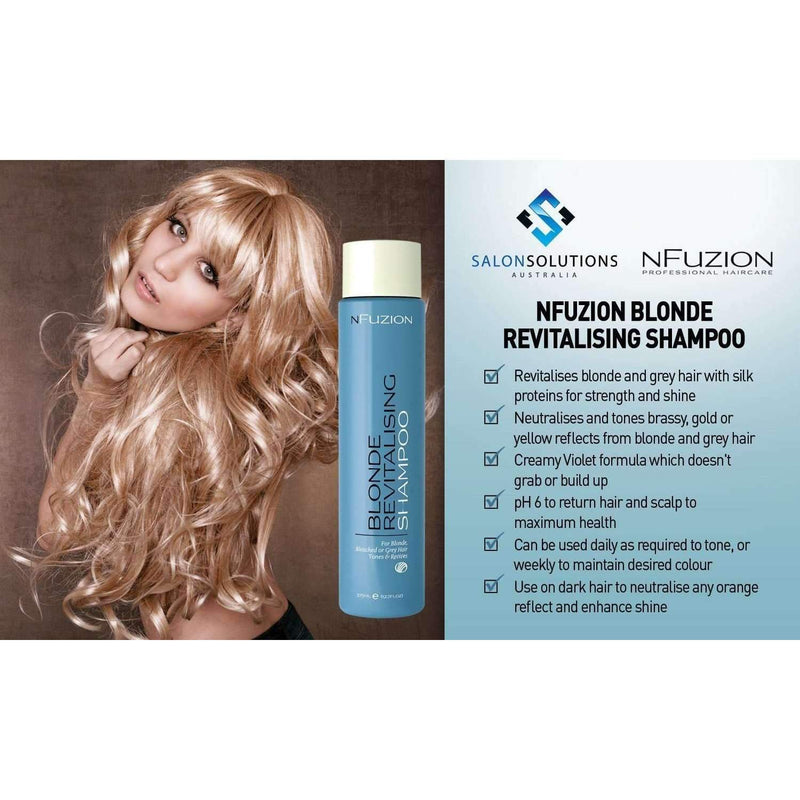NFuzion Professional Blonde Revitalising Shampoo 375ml,Salon Supplies To Your Door