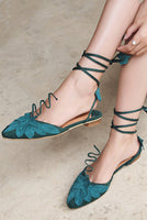Faire Leaf Lace Up Vine Pixie Mules - The Urban Doll