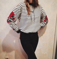 Roses Embroidered Striped Sweatshirt - The Urban Doll