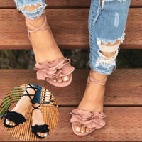 Ruffle Lace Up Casual Flat Sandals (3 Colors) - The Urban Doll