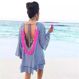 Striped Pink Tassel Swimsuit Cover Up