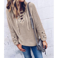V Neck Knitted Lace Up Sweater (4 Colors) - The Urban Doll