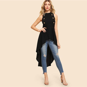 Black Double Button Hi-Low Sleeveless Top - The Urban Doll