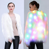 Colorful LED White Faux Fur Coat - The Urban Doll