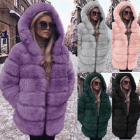 Luxurious Fluffy Faux Fur Hooded Coat (5 Colors) - The Urban Doll