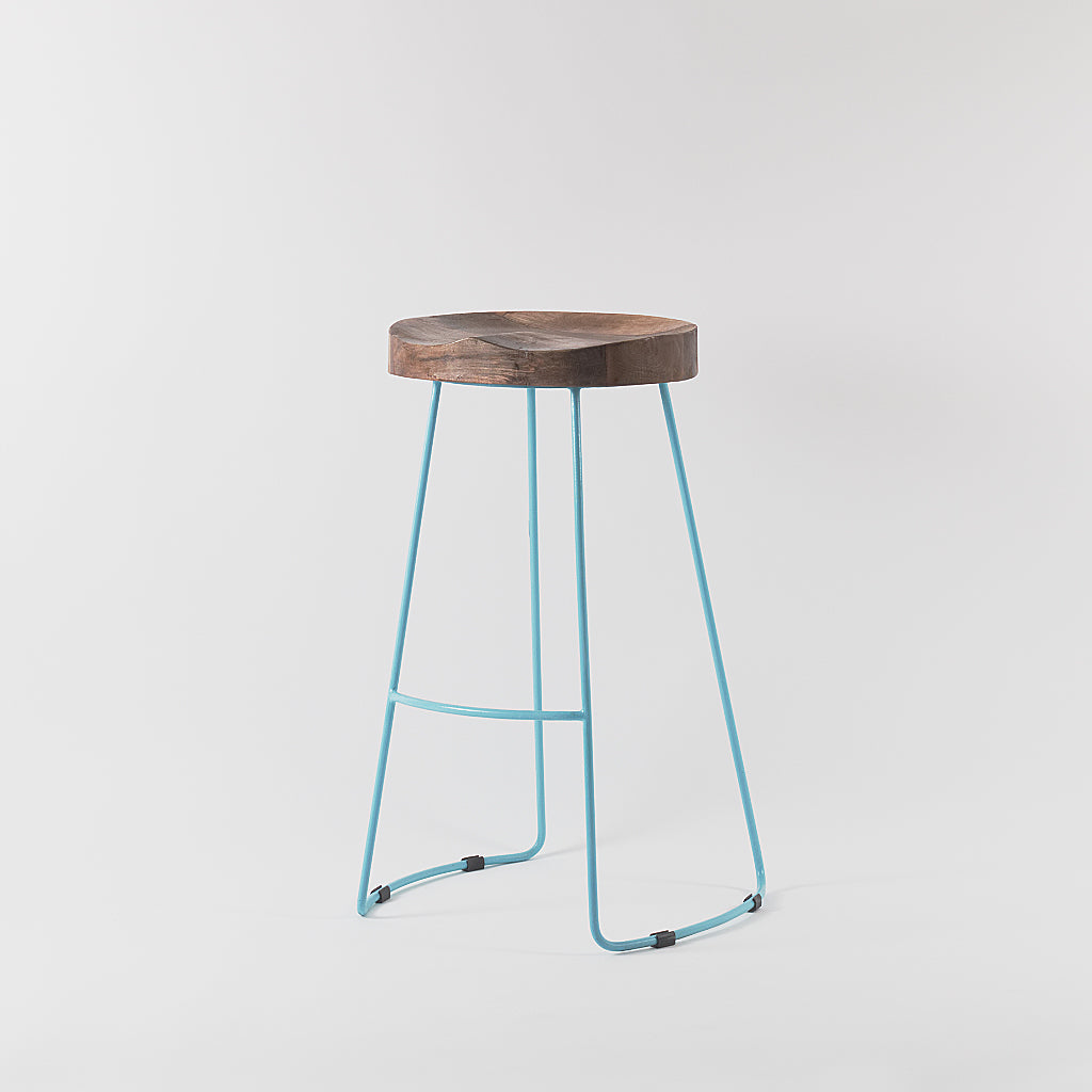 Astounding Arlo Wood And Metal Bar Stool Blue Vaunt Design Andrewgaddart Wooden Chair Designs For Living Room Andrewgaddartcom
