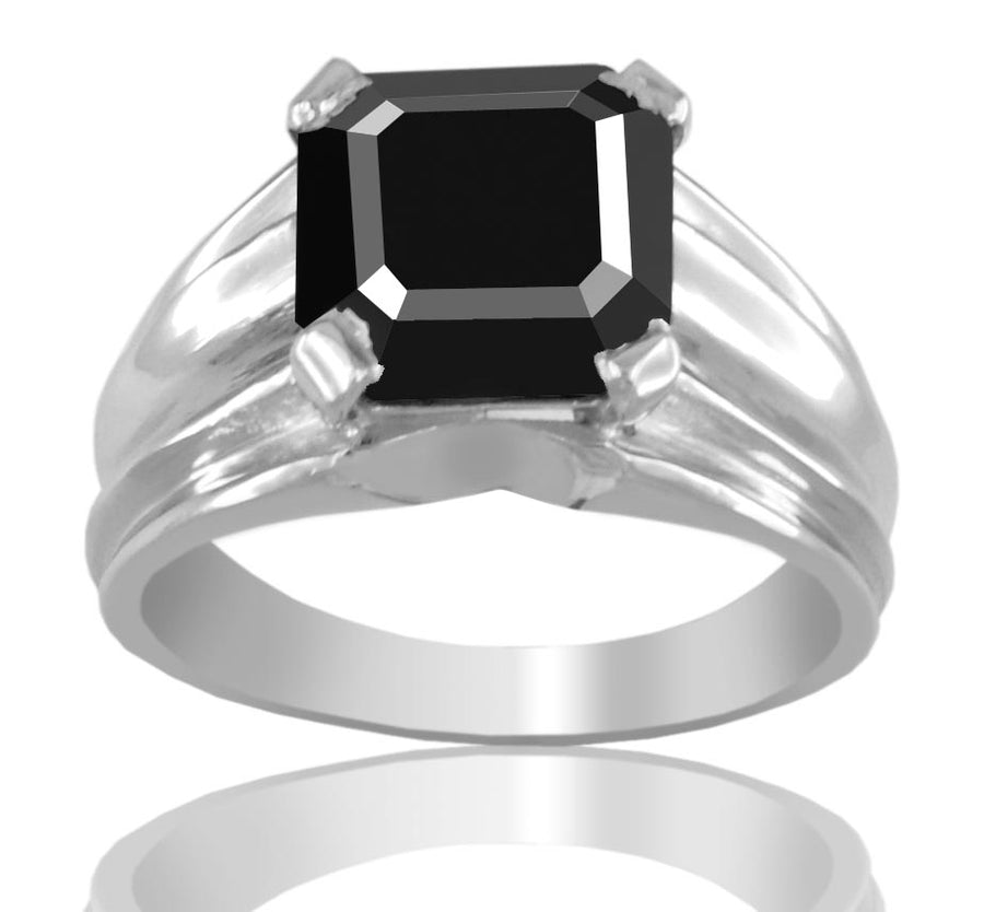 1-3 Ct Asscher Cut Black Diamond Solitaire Men's Engagement Ring - ZeeDiamonds