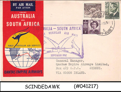 AUSTRALIA - 1952 AIR MAIL QANTAS EMPIRE AIRWAYS AUSTRALIA to SOUTH AFRICA FFC