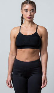 Cami Sports Bra black on black front view
