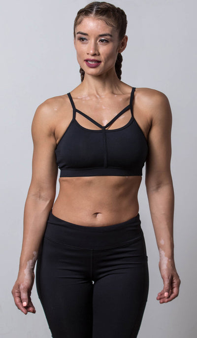 Chloe Sports Bra black front view