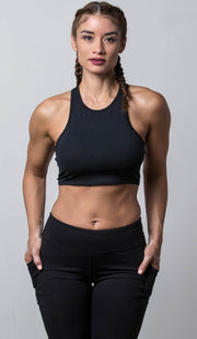 Emily Sports Bra black front view