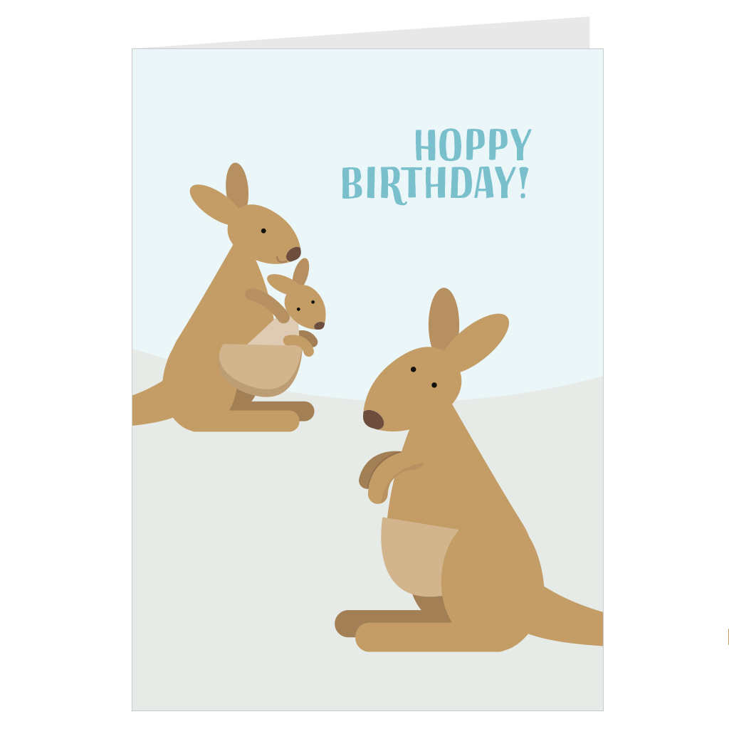Kangaroo Family Hoppy Birthday A6 card & envelope