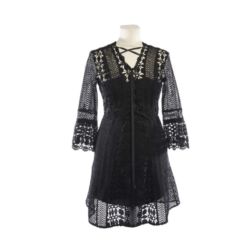 Self Potrait Black Embroidered Cut Dress