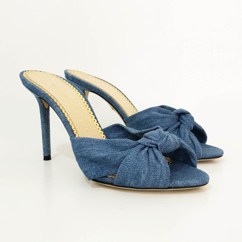 Charlotte Olympia Lola Knotted Denim Mules