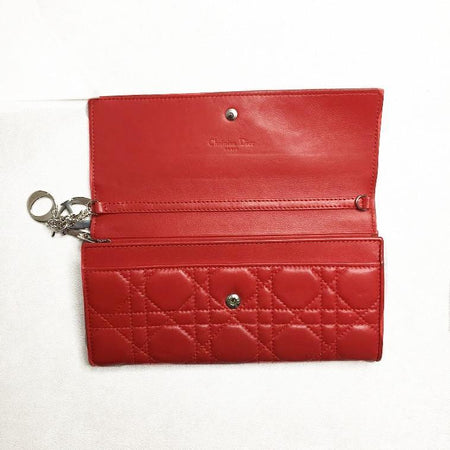 Christian Dior Red Lady Dior Rendez-Vous wallet