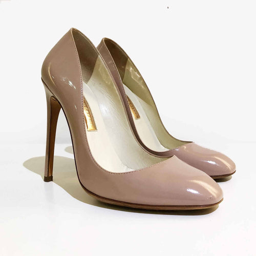 Rupert Sanderson Nude Square Toe Pumps