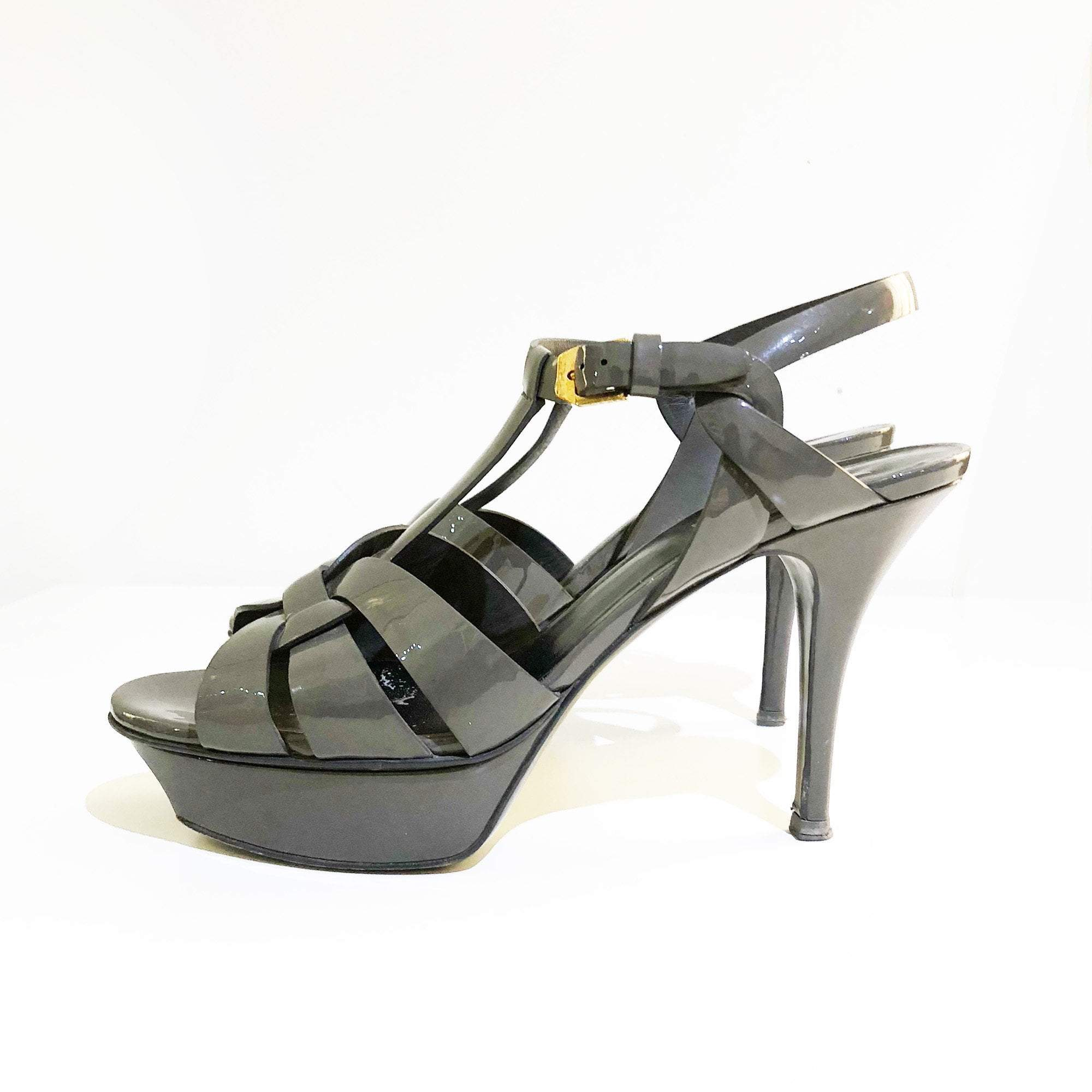 Saint Laurent Tribute Grey Sandal Heels