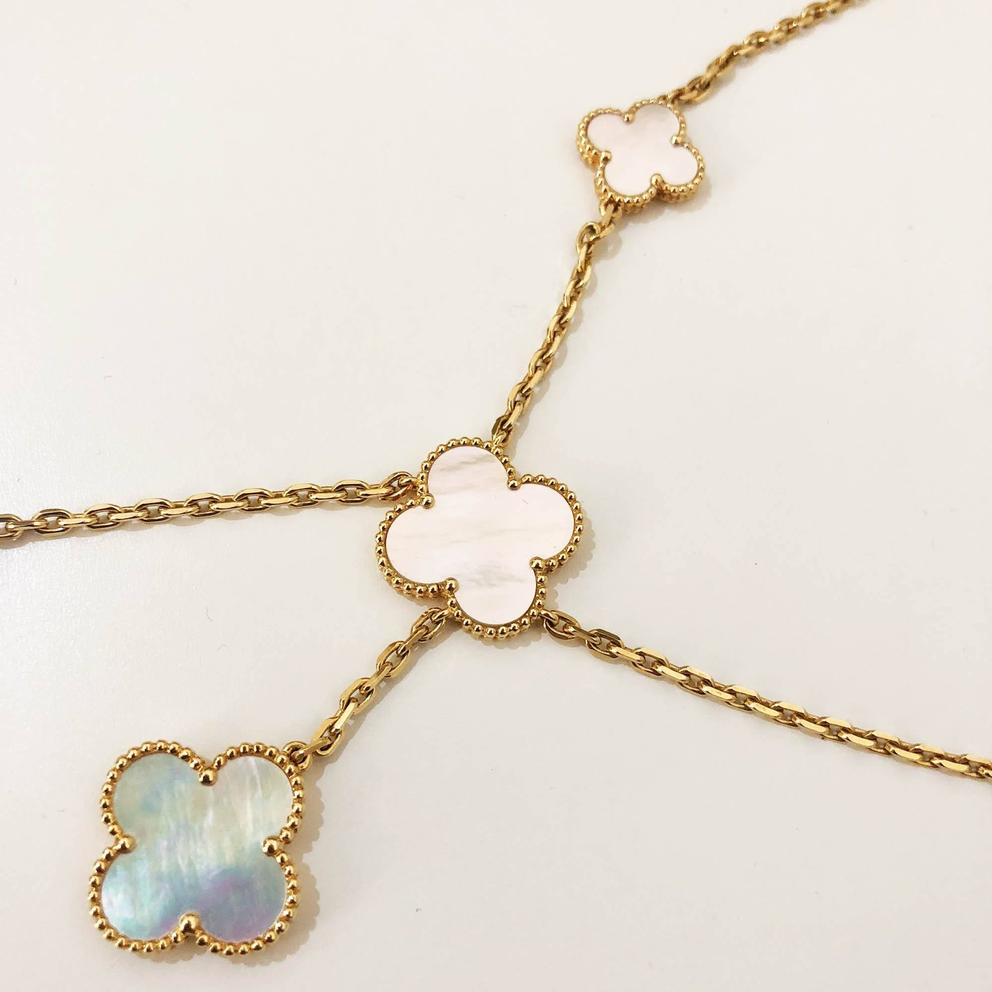 Van Cleef & Arpels 18k Gold Mother of Pearl Magic Alhambra 6 Motifs Necklace