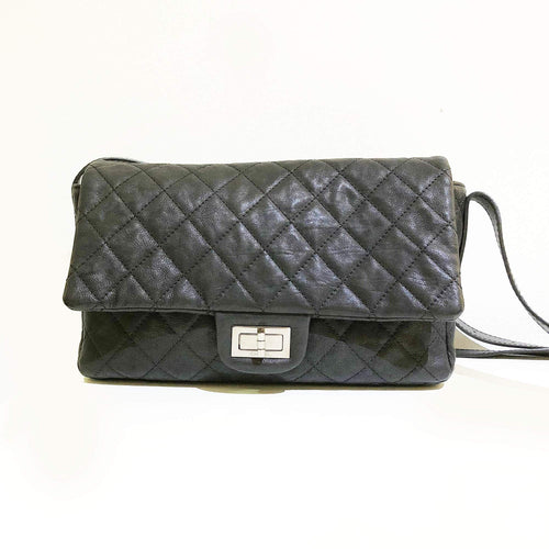 Chanel Black Caviar Leather 2.55 Reissue Flap Bag With Leather Strap
