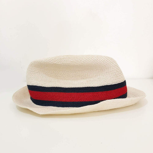 Gucci Beige Straw Hat with Stripes