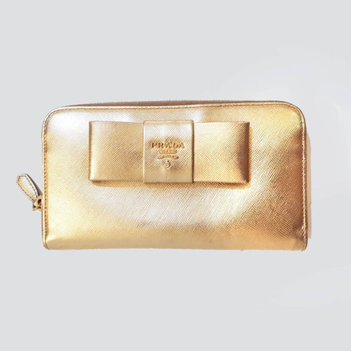 Prada Saffiano Gold Long Wallet