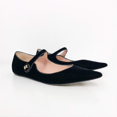 Rochas Black velvet pointed toe flats