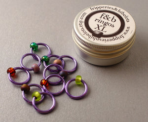 ringOs XL Lavender Garden - Snag-Free Ring Stitch Markers for Knitting