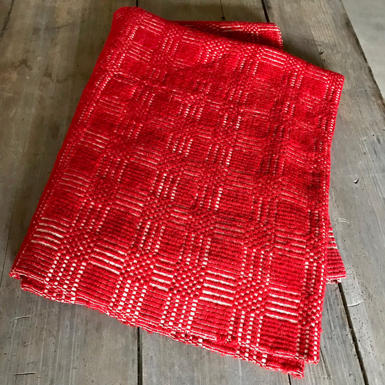 Antique Red Overshot Coverlet
