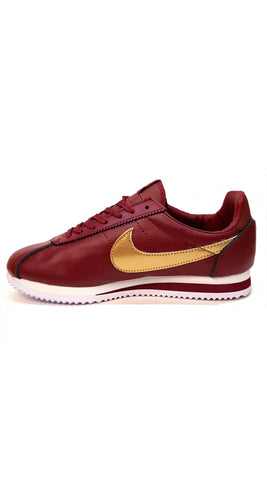 Cortez Premium Leather - Maroon/Gold