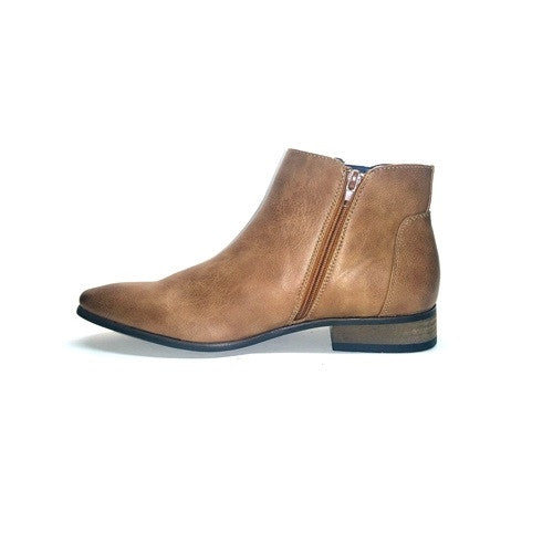 Formal Slip On Zip Up Ankle Boot - Tan